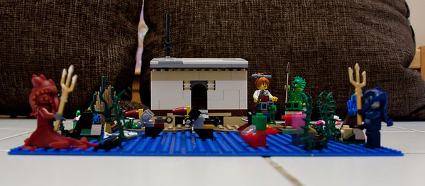 Swamp monster and Ann Lee take tea at the Swamp monster's cottage, MOC