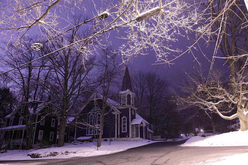 Snowy night on Mt. Nittany Road, Lemont, PA