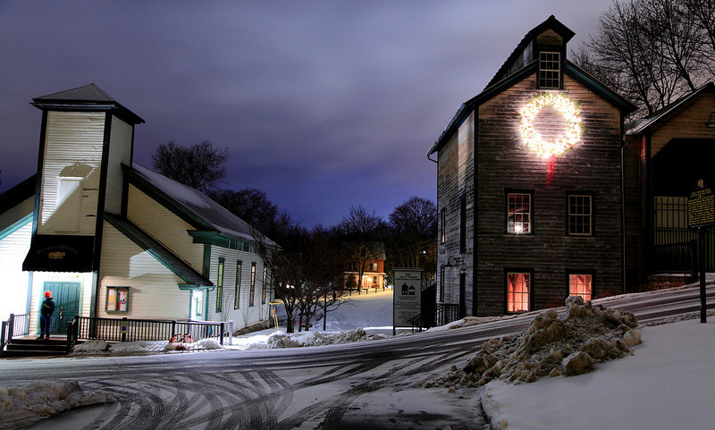 Lemont nightscape with Center for Well Being and the Granary, as seen from the Post Office