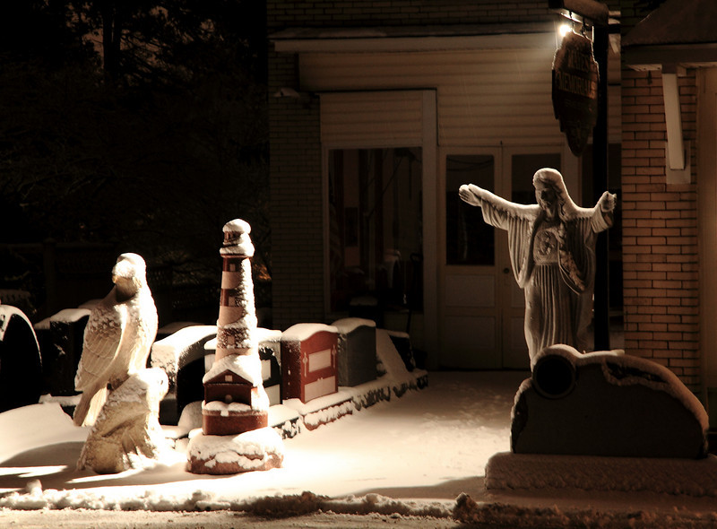 Mayes Memorials (est. 1880), Lemont, PA, where snowy Jesus blesses the eagle and the lighthouse