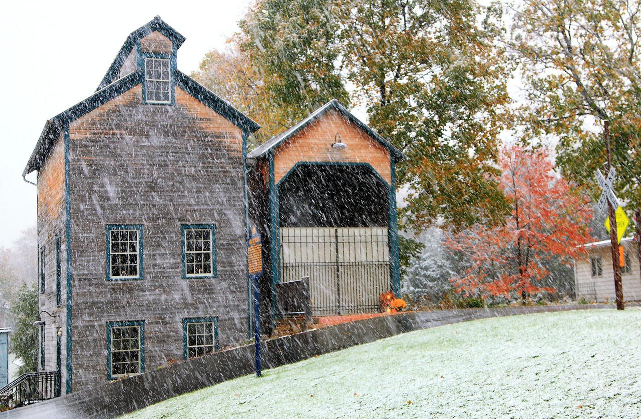 First snow, October.  Lemont Granary.