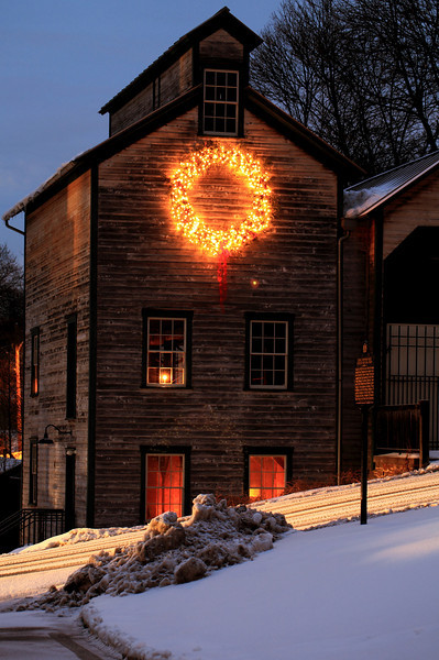 Lemont Granary, at night in January