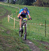 Nendaz August<br />  Steve Bovay in the world famous Grand Raid mountain bike race on a steep downhill:
