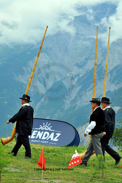 NENDAZ, players at the 9th International Festival of Alpine horns  2010 <br /> Festival Cors des alpes