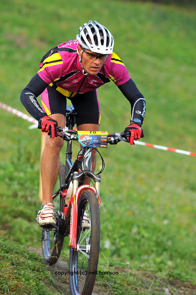 Nendaz, August: <br /> Francois Breitler one of the Elite starters of the world famous Grand Raid mountain bike race: