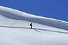 Nendaz Grepon Blanc<br /> a lone skier in  fresh powder snow<br /> skieur seul dans la poudreuse