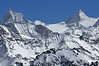 Nendaz Mont Fort <br /> Matterhorn and the Dent d'Herens in the swiss alps in winter<br /> Cervin et Dent d'Herens