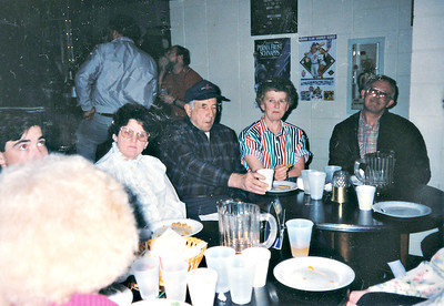 Leslie's retirement party when he retired from Machine Products.   Marge, Bill, Lola, and Glen