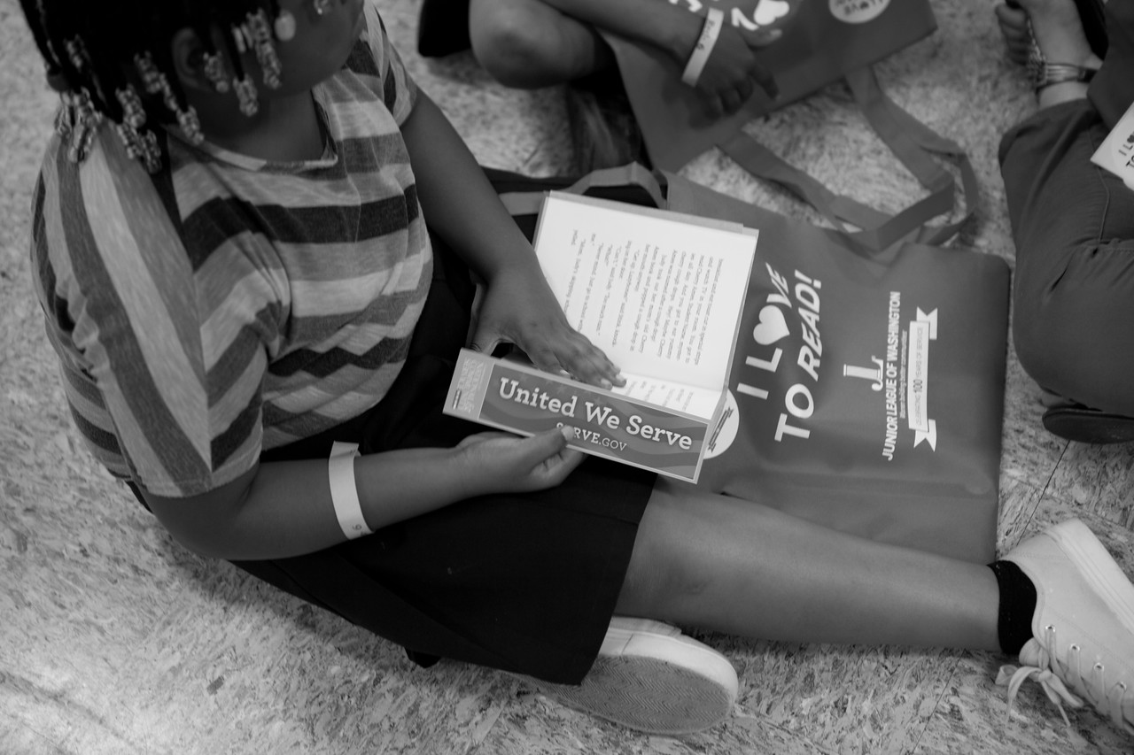 Students participating in the reading sessions at the Let's Read. Let's Move. event at Garfield elementary. Corporation for National and Community Service Photo.