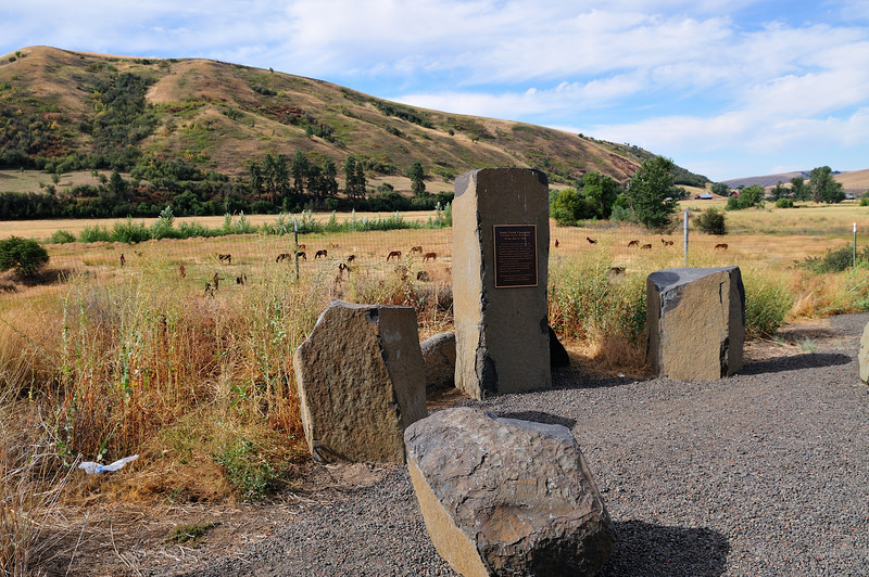This stone arrangement marks the camp site of the Lewis & Clark return trip on Patit Creek, May 2, 1806.  It is located 2 1/2 miles east of Dayton, WA.
