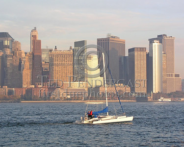 Catamaran On The Hudson With Lower Manhattan In The Background