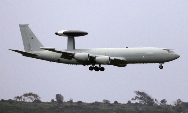 AKROTIRI, ENGLAND - MARCH 20:  An RAF AWAC aircraft lands at the British RAF Akrotiri airbase on March 20, 2011 in Cyprus. Defence analysts said the sovereign military airfield at Akrotiri could be used by the RAF to help enforce a no-fly zone over Libya against Col Gaddafi���s offensive against outgunned Libyan rebels.  (Photo by Matt Cardy/Getty Images)