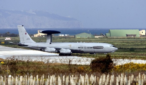 A Nato Awacs plane is seen after landing at the Trapani Birgi air base on the Italian island of Sicily on March 19, 2011. Italian air bases could play a key role in any military action against Libya but the prospect of Rome's first operation against its former colony since World War II carries high risks, experts said.  Italy offered use of seven air bases to third countries to impose a no-fly zone on Libya, marking the latest step in a gradual escalation of initially prudent Italian diplomacy following the uprising in Libya.   AFP PHOTO / MARCELLO PATERNOSTRO (Photo credit should read MARCELLO PATERNOSTRO/AFP/Getty Images)
