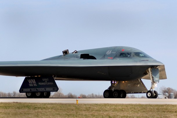 One of three Air Force Global Strike Command B-2 Spirit bombers returns to home base at Whiteman Air Force Base in Missouri, March 20, 2011 after striking targets in support of the international response which is enforcing a no-fly zone over Libya. The B-2s landed at Whiteman Air Force Base, Missouri after a more than 25-hour mission in support of Operation Odyssey Dawn. The bombers employed 45 guided Joint Direct Attack Munitions, each weighing 2,000 pounds, against hardened aircraft shelters in Libya. REUTERS/Kenny Holston/U.S. Air Force photo/Handout  (UNITED STATES - Tags: MILITARY POLITICS TRANSPORT CIVIL UNREST CONFLICT) FOR EDITORIAL USE ONLY. NOT FOR SALE FOR MARKETING OR ADVERTISING CAMPAIGNS. THIS IMAGE HAS BEEN SUPPLIED BY A THIRD PARTY. IT IS DISTRIBUTED, EXACTLY AS RECEIVED BY REUTERS, AS A SERVICE TO CLIENTS