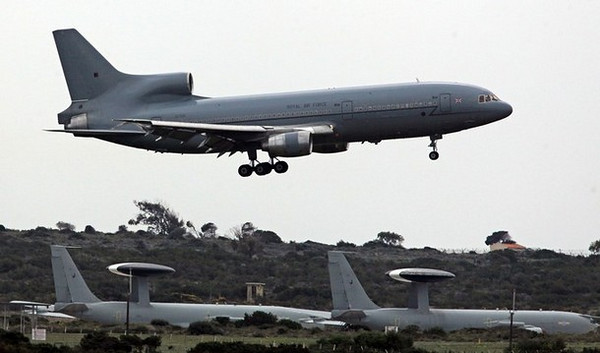 AKROTIRI, CYPRUS - MARCH 20:  An RAF Tristar tanker lands at the British RAF Akrotiri airbase on March 20, 2011 in Cyprus. Defence analysts said the sovereign military airfield at Akrotiri could be used by the RAF to help enforce a no-fly zone over Libya against Col Gaddafi's offensive against outgunned Libyan rebels.  (Photo by Matt Cardy/Getty Images)