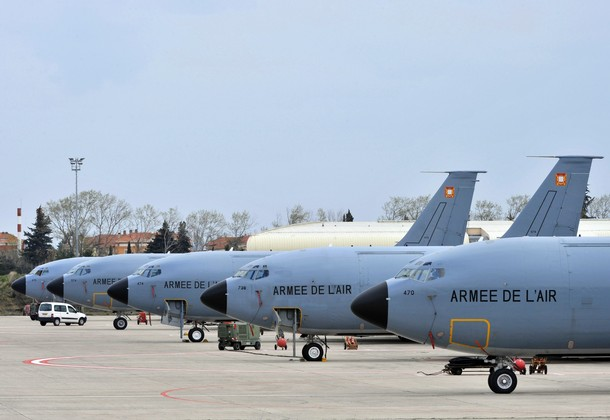 French Boeings C135 that refuel French army jet fighters during the operation in Libya are seen on March 22, 2011 at the Istres airbase. France, which has mobilised about 100 warplanes -- mainly Rafale and Mirage 2000 jets -- was the first country to overfly the rebel bastion of Benghazi on Saturday, using 20 warplanes for air strikes after the go-ahead for a no-fly zone.  AFP PHOTO / BORIS HORVAT (Photo credit should read BORIS HORVAT/AFP/Getty Images)
