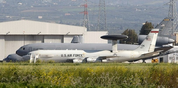 "A NATO AWACS is parked in the tarmac of the Sigonella Airbase in the southern Italian island of Sicily March 18, 2011. Italy threw its full support behind plans for military action against Libya on Friday, offering its airbases and declaring it would join the coalition with France, Britain and the United States "" without reserve"".    REUTERS/Antonio Parrinello  (ITALY - Tags: POLITICS MILITARY)"