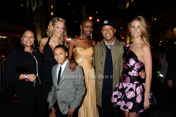 Justine Simmons, Heidi Albertsen, Miss Tanzania  Flaviana Matata, Russell Simmons  Julie Henderson, Rusty Simmons<br /> photo by Rob Rich © 2009 robwayne1@aol.com 516-676-3939