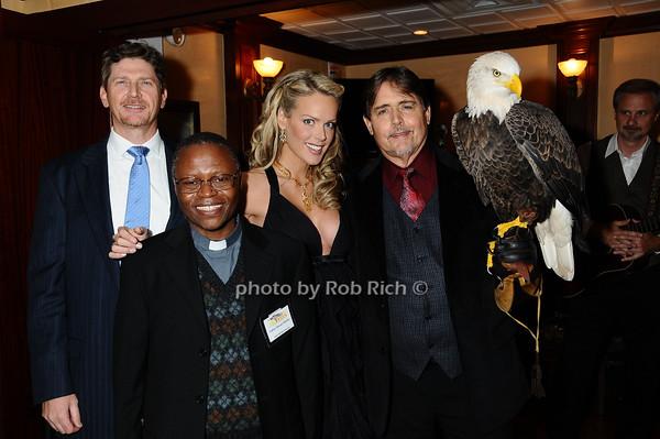 Jeff Collen, Father Steven Mosha, Heidi Albertsen,  Al Cecere,Challenger (American Bald Eagle)<br /> photo by Rob Rich © 2009 robwayne1@aol.com 516-676-3939