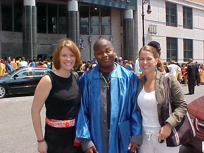 Ms. Gardner, Omar, & Ms. Mobley: My first graduation as a teacher (Chelsea HS, June 2004)
