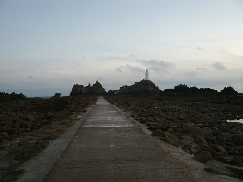 The causeway to the lighthouse. <br /> <br /> There are 40ft high tides in Jersey and this is completely submerged from about 1/3 of that height