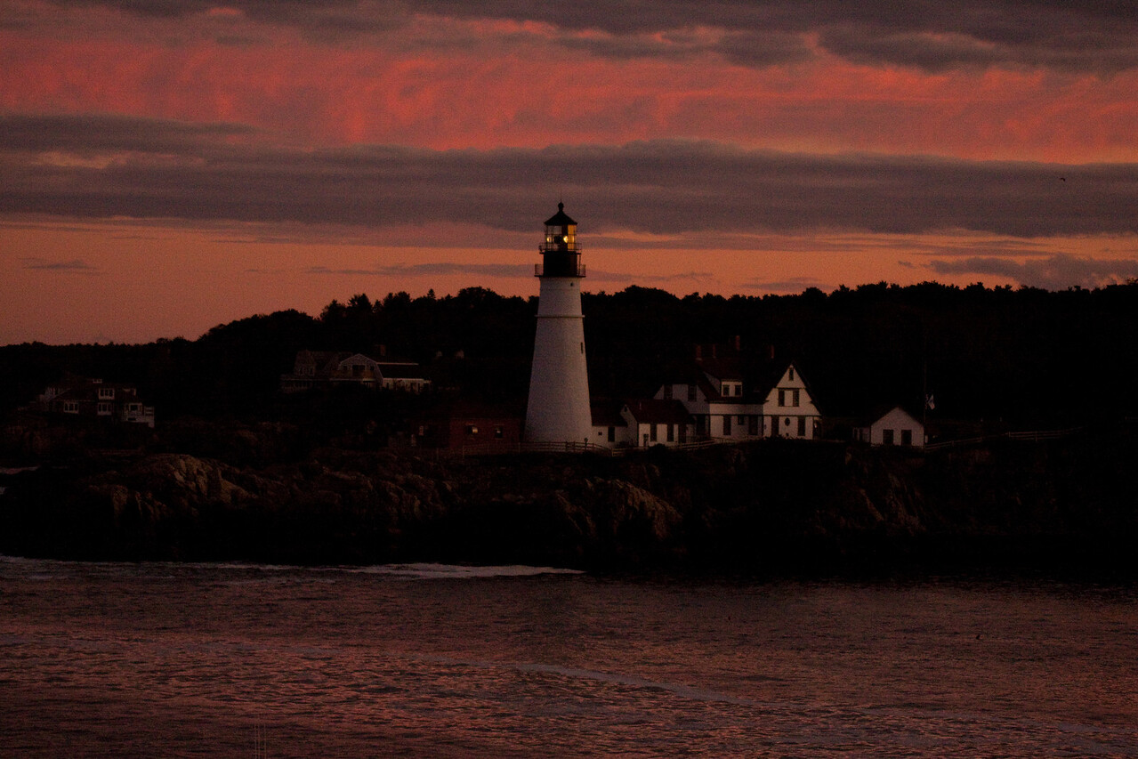 Portland Light in late evening while cruising out of port.