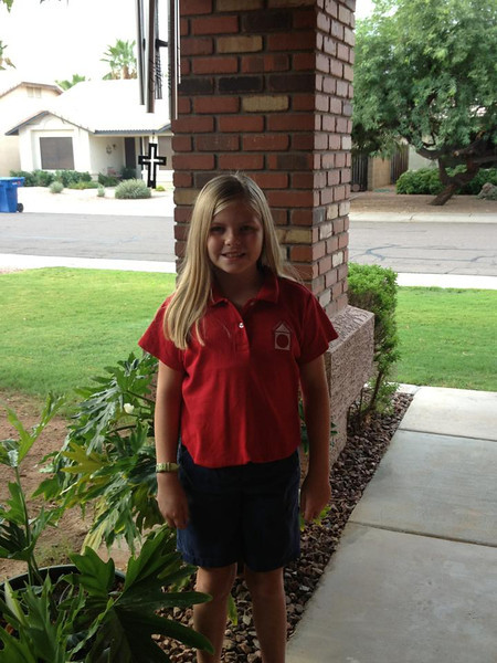 Caitlyn Weed on her first day of school 2013