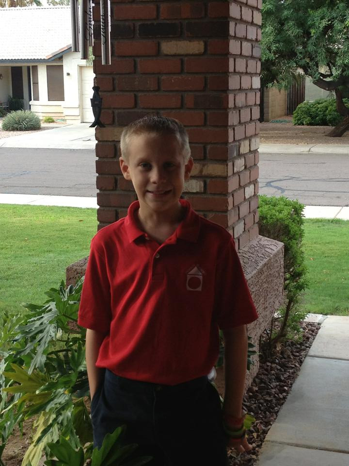 Jacob Weed on his first day of school 2013