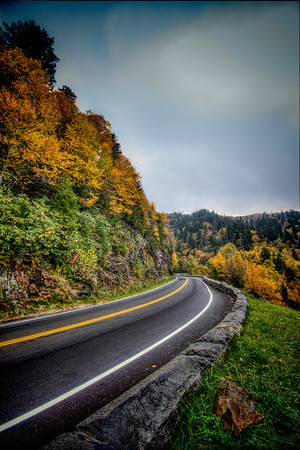 """Sunday Drive"" This photograph was taken in the Great Smoky Moutnains National Park 10/6/12 the weather was wet, foggy and cold not the best for a photographer but I made the best of what nature handed me."