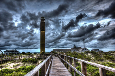 Stormy Evening At Oak Island Lighthouse HDR Photography