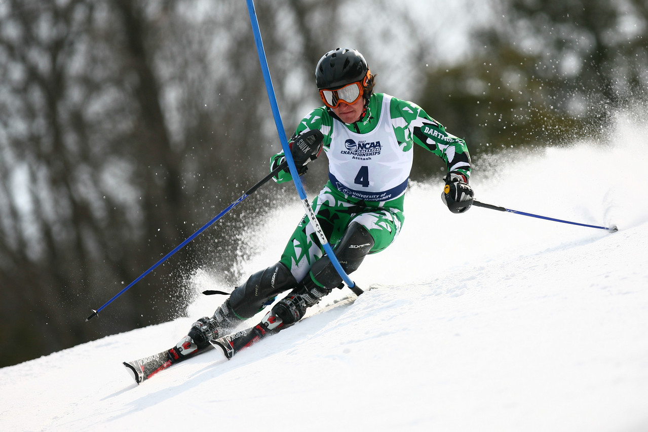 Dartmouth skier Evan Weiss carves up the 2007 NCAA Championship course in Attitash, NH. The Dartmouth team won their first championship in 30 years and became the first team in over fifty years to win with a team comprised entirely of Americans. (Photo used in a half page photo spread in Ski Racing Magazine)