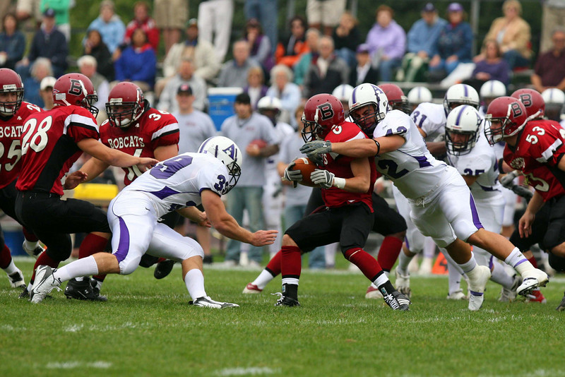 The Bates Football record for the 2007 season was 0 and 7. With a weak defense and a lackluster offense, there was nowhere to turn. (Photo published in The Sun Journal)