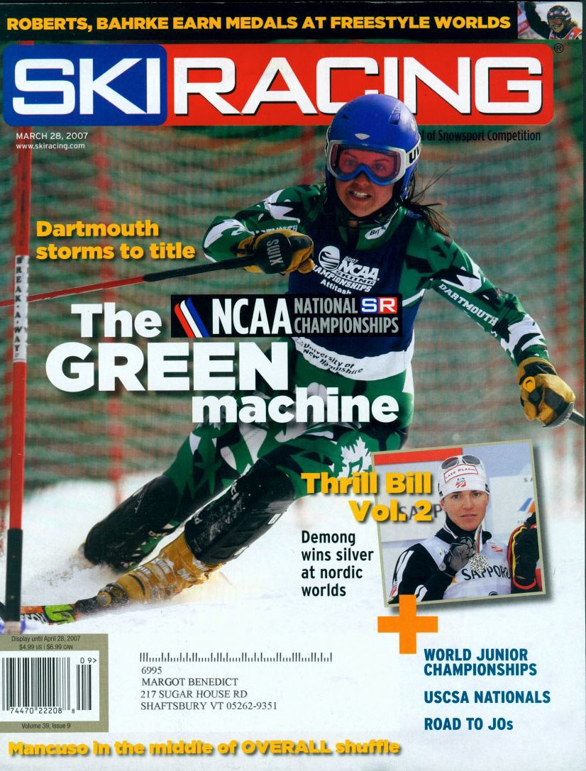 Cover credit for the April issue of Ski Racing magazine detailing Dartmouth's 2007 NCAA championship title, the first fully american team to win the honor since 1957. Photo picked over selections from NCAA photos and the Associated Press as well as other various freelancers.
