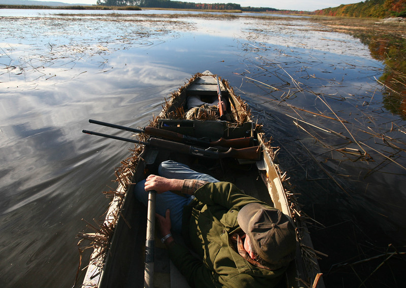 Once ducks are spotted the process of sculling out sometimes take more than an hour to the decoys positioned a mile away.