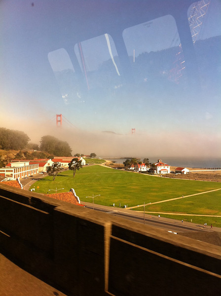 On our way to Napa Valley... A great view of Francisco Bridge - Love the effect of the fog rolling in!