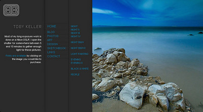 //www.burnblue.com Nel sito del fotografo californiano Toby Keller sono esposte sia fotografie che opere grafiche - di particolare suggestione le immagini in cui usa la tecnica della pittura di luce