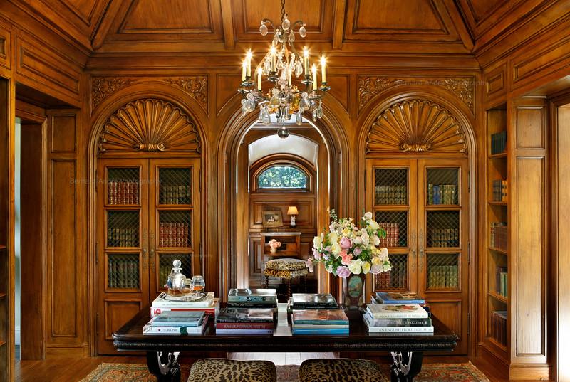 Private Residence, Library. Monte Sereno, CA. Linda L Floyd, Inc, Interior Design.  On-site Construction.
