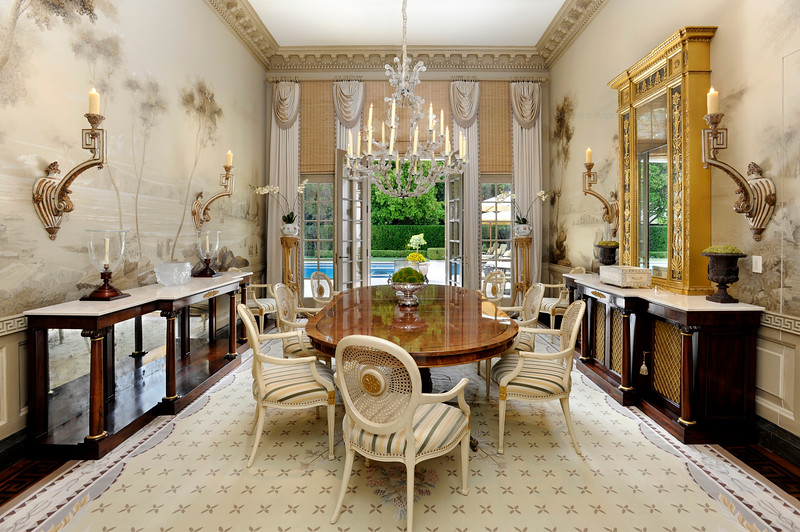 Dining Room, Private Residence, Atherton, CA. Mary & Brent Gullixson, Andrew Skurman Architects, Tucker & Marks Design.