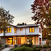 Private Residence, front at dusk. Palo Alto, CA. Arcanum Architecture, Behrens-Curry Homes.