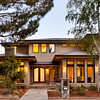 Private Residence, Front at dusk, Los Altos, CA. RJ Dailey Construction Co, Anderson Brule Architects.