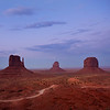 The Mittens at Dusk, Monument Valley. Navajo Nation Tribal Park, Arizona/Utah.