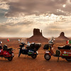 Sunrise over 3 Italian Vespas, Monument Valley. Navajo Nation Tribal Park, Arizona/Utah.