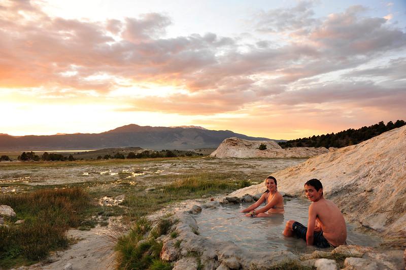 Last Sunset at Travertine Hot Springs, Bridgeport CA.