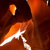Direct Sunlight inside Antelope Canyon, near Page, Arizona.