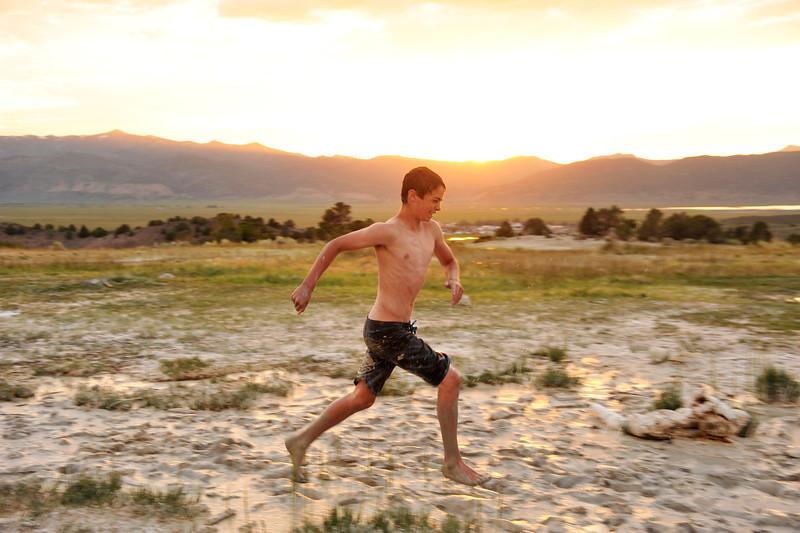 Running in the warm mud at Travertine Hot Springs, Bridgeport CA.