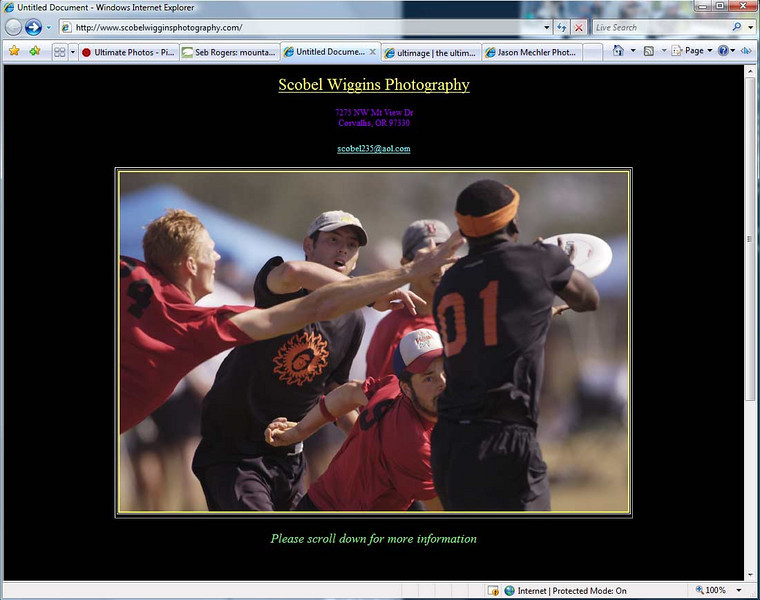 "Scobel Wiggins is a US based photographer and her sons are some awesome ultimate players. Scobel is often there to catch the action at some of the best ultimate tournaments in the world.<br /> <br /> <a href=""http://www.scobelwigginsphotography.com/"">http://www.scobelwigginsphotography.com/</a>"