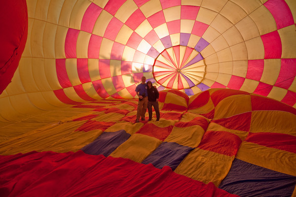Guy and Amy inside a Hot Air Balloon