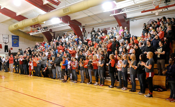 Don Knight / The Herald Bulletin<br /> Fans packed the gym for a pep session after Liberty Christian defeated Lafayette Central Catholic to claim their first regional championship on Saturday.