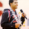 Don Knight / The Herald Bulletin<br /> Liberty Christian's DeShon Gibbs addresses the crowd during a pep session after the Lions won thier first regional title on Saturday.