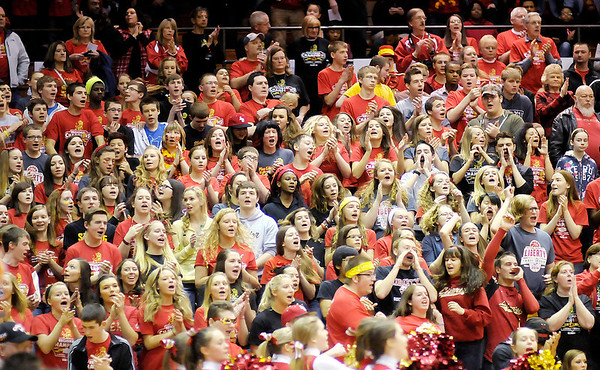 Don Knight / The Herald Bulletin<br /> Liberty Christian fans packed into the bleachers at the Crawley Center during the 1A semi-state at Lafayette Jefferson on Saturday.